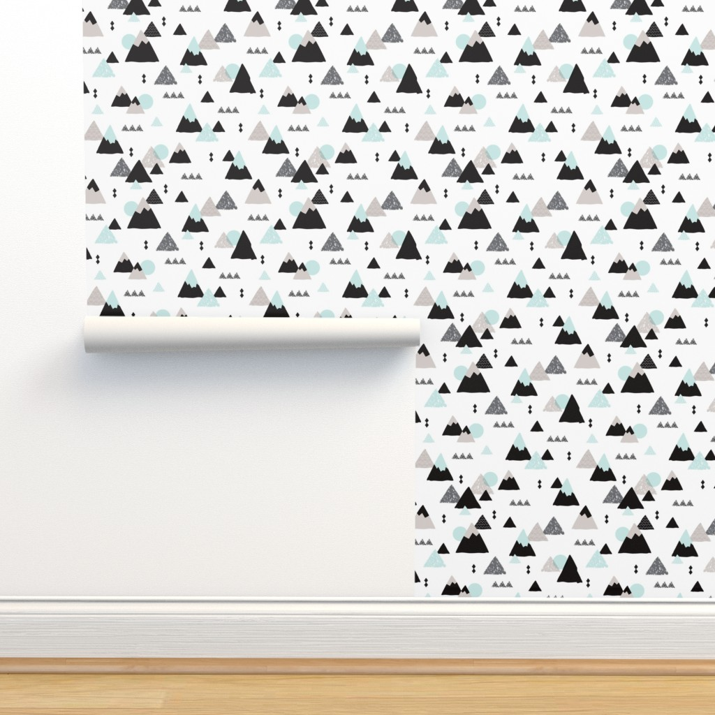Isobar Durable Wallpaper featuring Geometric fuji japan mountain illustration winter woodland  by littlesmilemakers