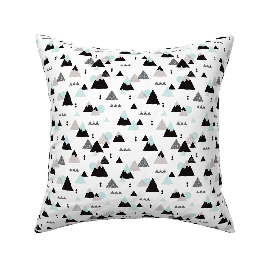 Catalan Throw Pillow featuring Geometric fuji japan mountain illustration winter woodland  by littlesmilemakers