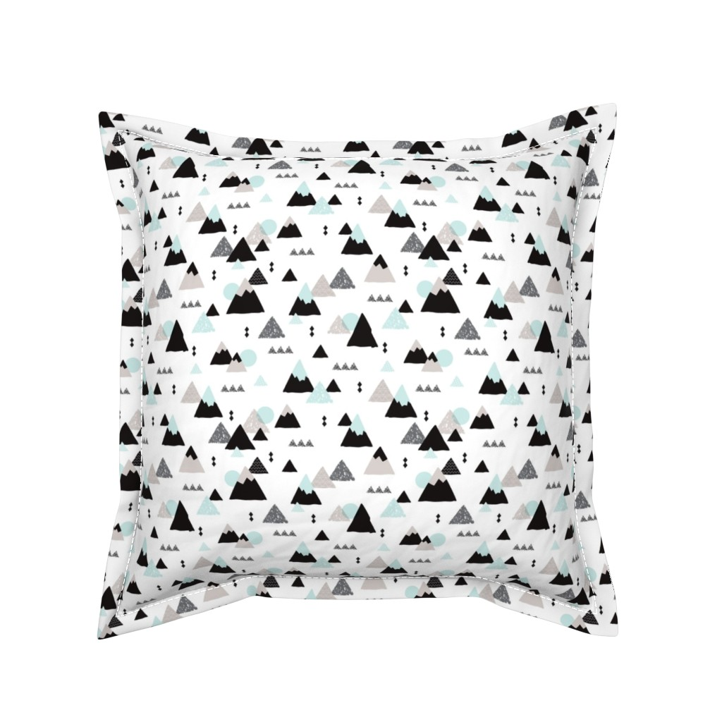 Serama Throw Pillow featuring Geometric fuji japan mountain illustration winter woodland  by littlesmilemakers