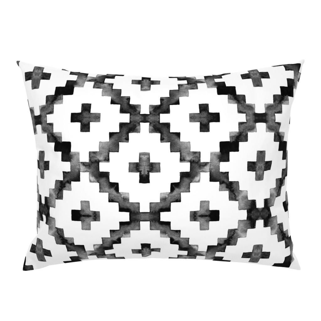 Campine Pillow Sham featuring Watercolor Diamond Chevron - Black & White by taraput