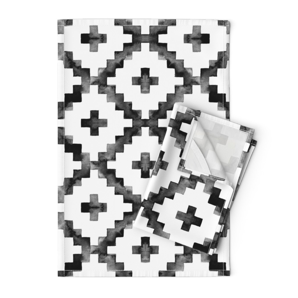 Orpington Tea Towels featuring Watercolor Diamond Chevron - Black & White by taraput