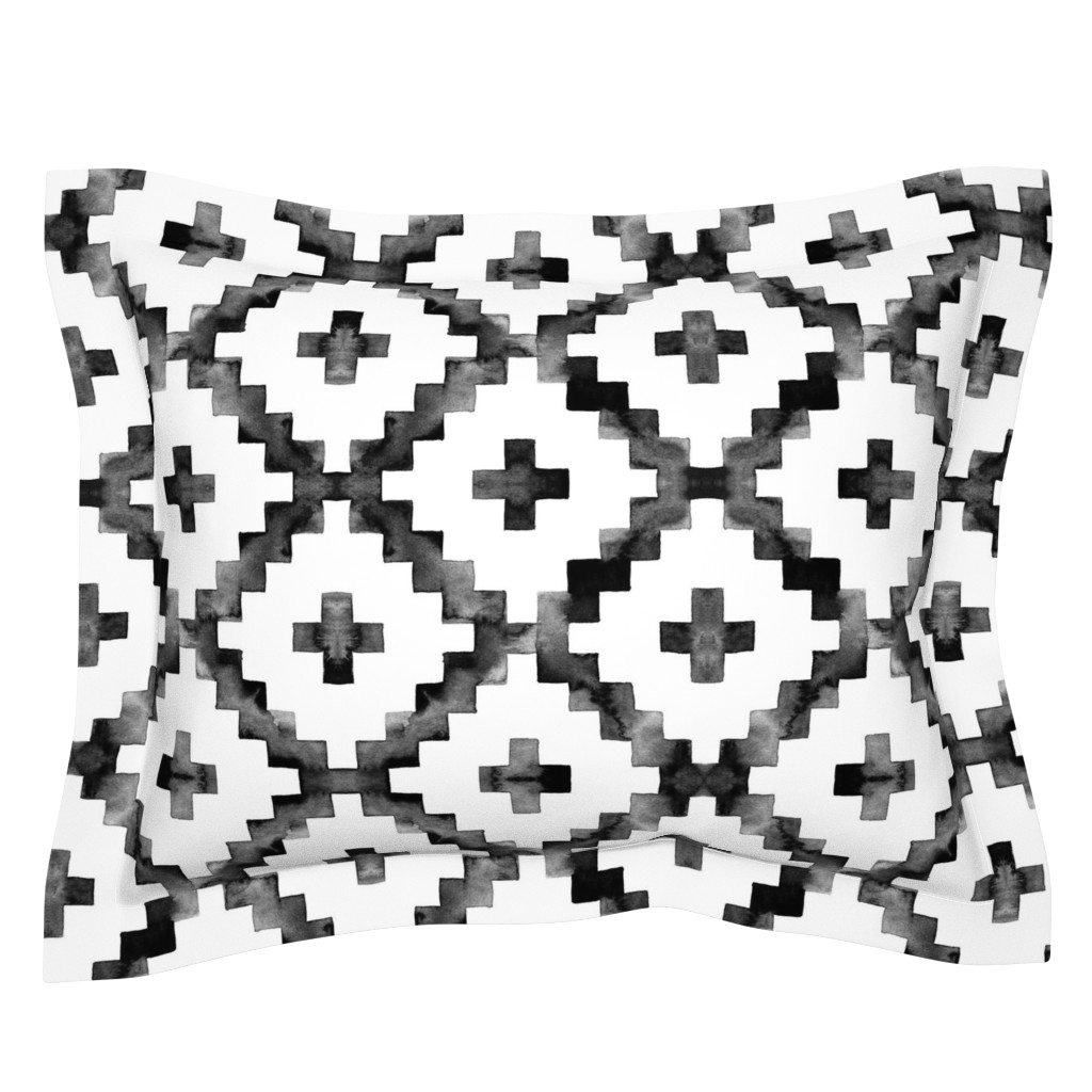 Sebright Pillow Sham featuring Watercolor Diamond Chevron - Black & White by taraput