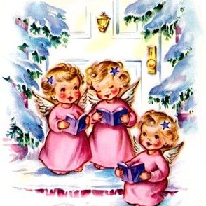 Merry Christmas winter snow angels cherubs caroling choir singing trees houses vintage retro kitsch music