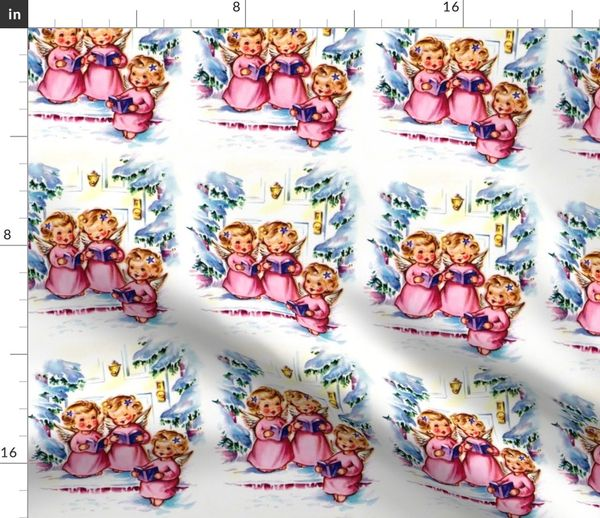 Christmas Singin.Fabric By The Yard Merry Christmas Winter Snow Angels Cherubs Caroling Choir Singing Trees Houses Vintage Retro Kitsch Music