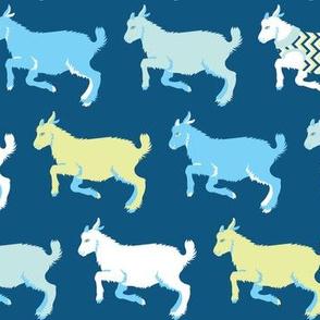 Happy Goats in Sweaters in Blue