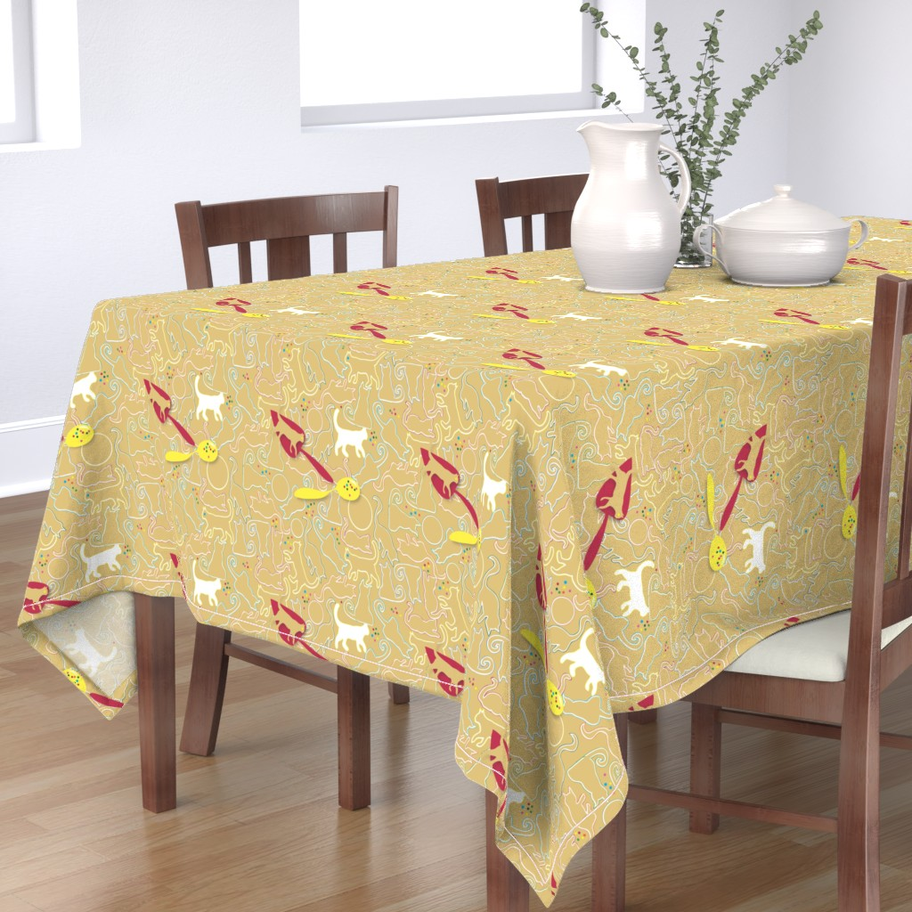 Bantam Rectangular Tablecloth featuring Making Gingerbread Cats by colour_angel_by_kv
