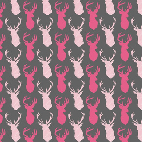 Stag Head Stagger Pinks on Grey