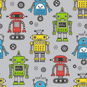Cute Robots on Gray