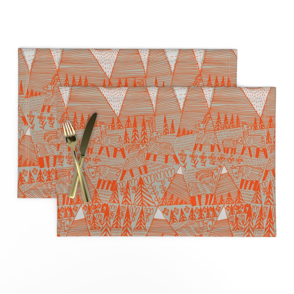 Lamona Cloth Placemats featuring Evening on the High Pasture by mariaspeyer