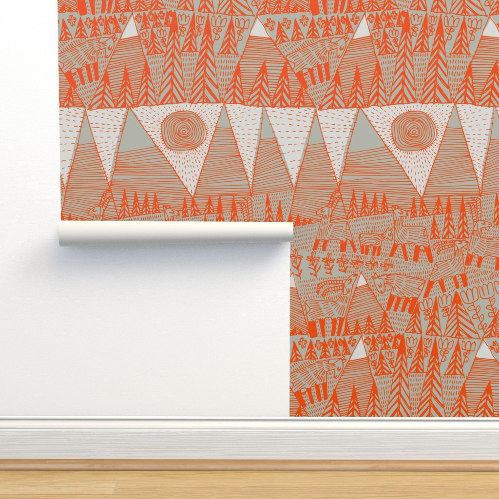 Isobar Durable Wallpaper featuring Evening on the High Pasture by mariaspeyer