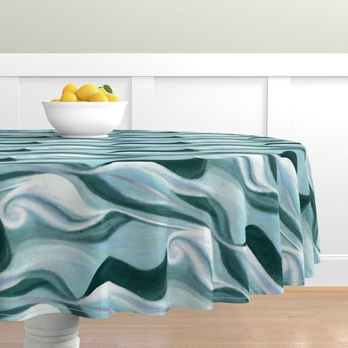Mid-century Modern Table Runner Mint Blue Green  Cotton Sateen Table Runner by Spoonflower Mid-century With Coral by wren/_leyland