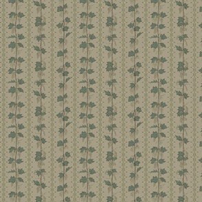 green hops climbing up string on a linen bg