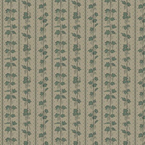 Green hops in Stripes with hand drawn curves on a linen bg