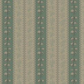 Hops in Stripes on dark green and linen stripes