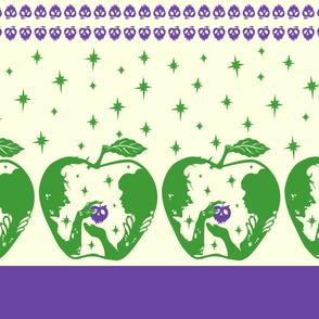 Snow White Purple Green Halloween Apple Border Print