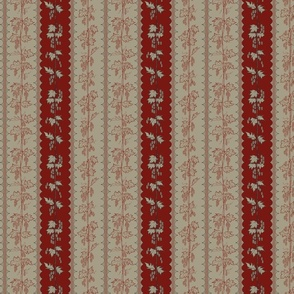 Hops climbing in red and linen stripes with hand drawn curves