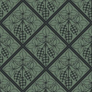 chequered hops in charcoal on a dark green diamond BG