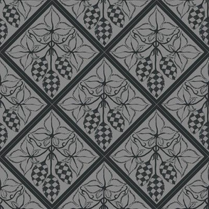 chequered hops in charcoal on a grey diamond BG