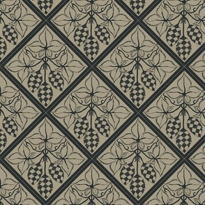 chequered hops in charcoal on an old linen diamond BG