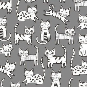 Cats with Stripes Black&White Gray