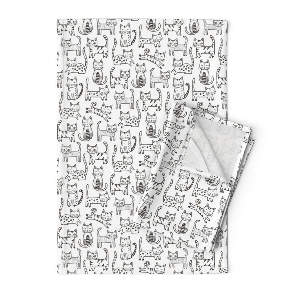 Orpington Tea Towels featuring Cats with Stripes Black&White by caja_design