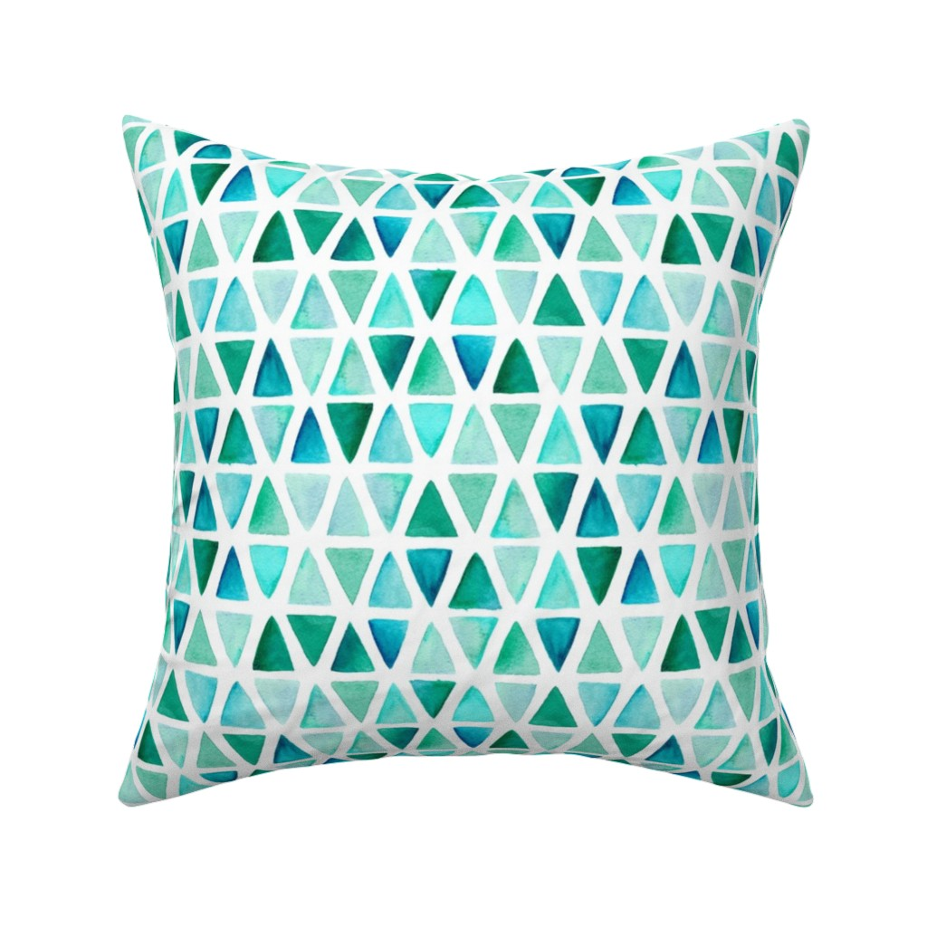 Catalan Throw Pillow featuring Watercolor Triangles by dinaramay