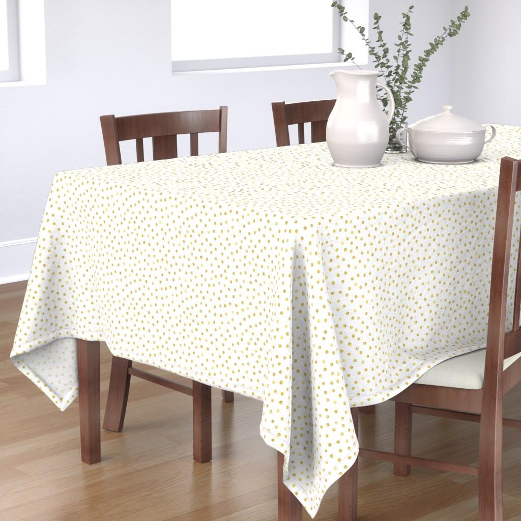 Bantam Rectangular Tablecloth featuring Polka Dot in Gold by dinaramay