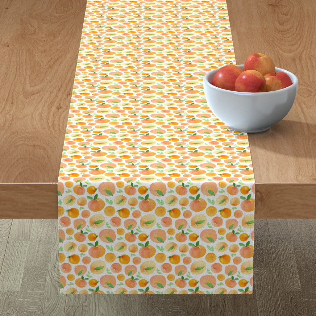 Minorca Table Runner featuring Watercolor Peaches by dinaramay