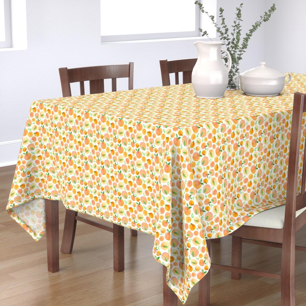 Bantam Rectangular Tablecloth featuring Watercolor Peaches by dinaramay