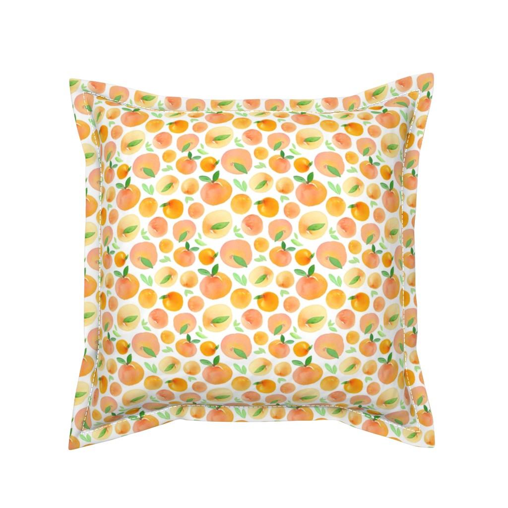 Serama Throw Pillow featuring Watercolor Peaches by dinaramay