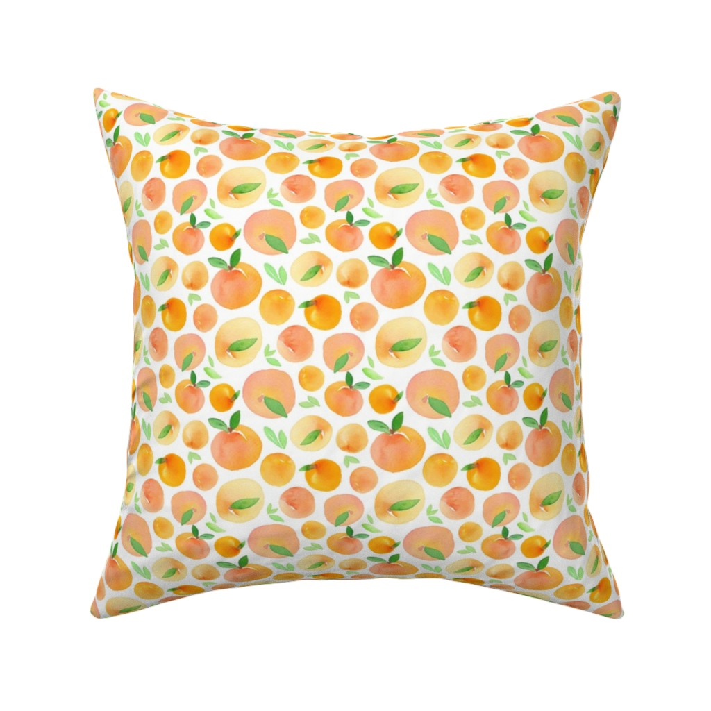 Catalan Throw Pillow featuring Watercolor Peaches by dinaramay