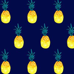 watercolor pineapple summer_navy