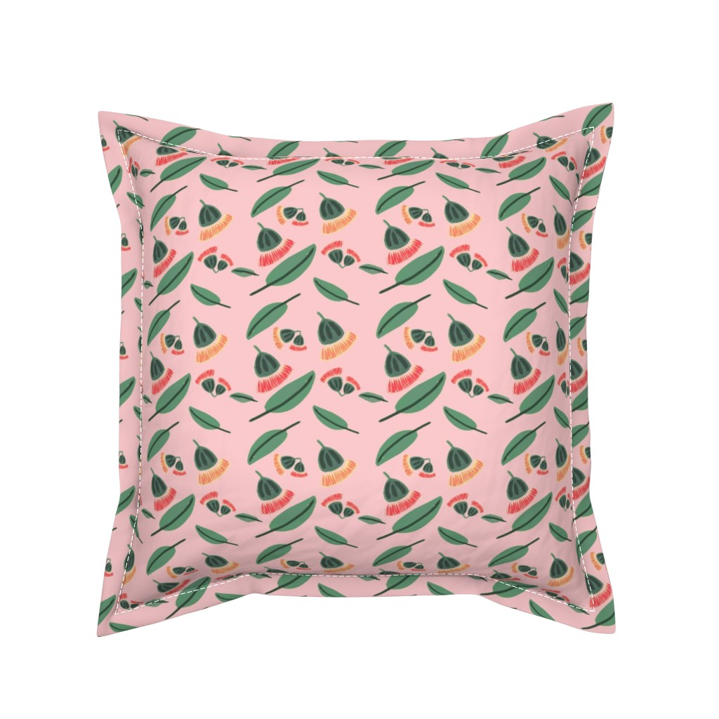 Serama Throw Pillow featuring Gum nut blossom by spenceaustralia