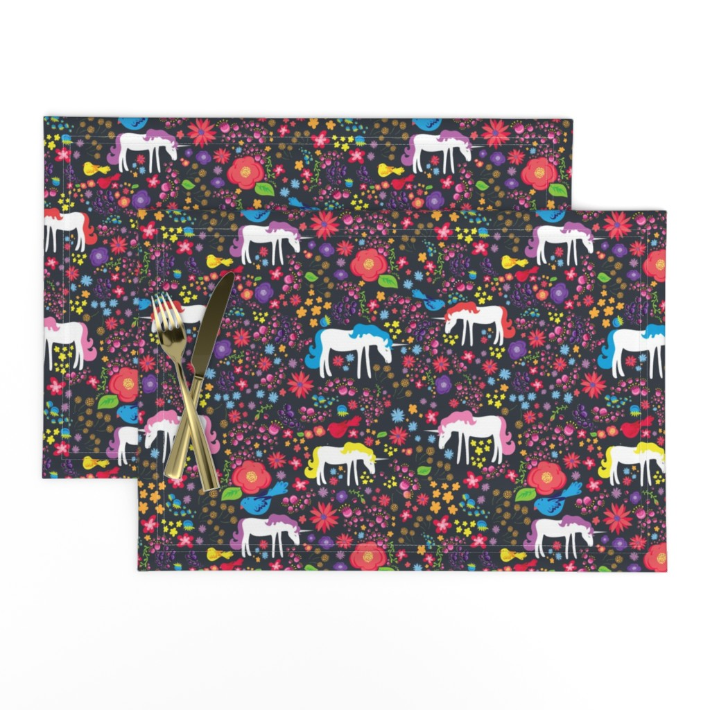 Lamona Cloth Placemats featuring Unicorn Rainbow Floral on Black  by mainsailstudio