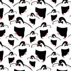 Dancing penguins - white