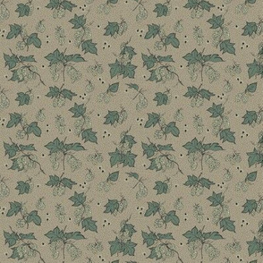 pale green hops and burr with dark green leaves on an old linen BG