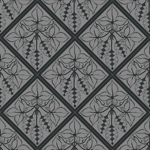 Formal charcoal hop diamonds on a grey BG