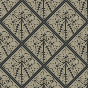 Formal charcoal hop diamonds on an old linen BG