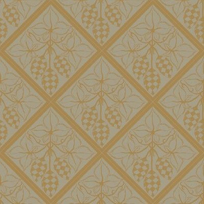 mustard hop diamonds outlined on an old linen BG