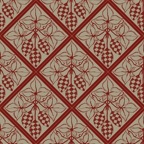 red hop diamonds outlined on an old linen BG