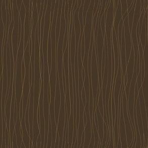 'Trails left in the Dew'  mustard lines on dark brown BG