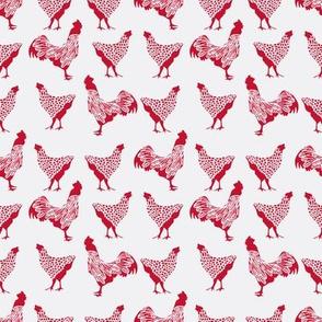 Red Chicken on White