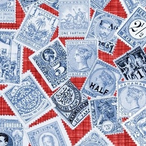 Late 19th Century Stamps ~ Blue and White on Red Linen Luxe