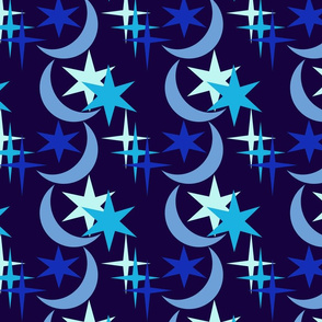 Blue Moon and Stars 02