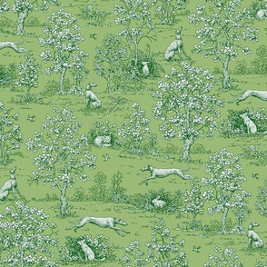 Green Reverse Greyhound Toile ©2010 by Jane Walker