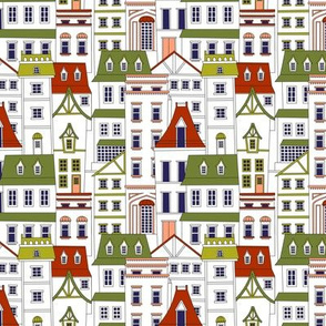 Houses and Buildings - Green and Red