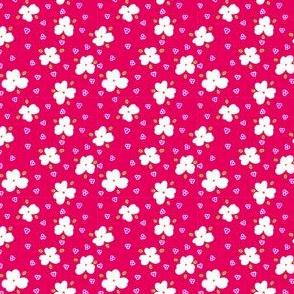 Tiny white flowers on pink bg