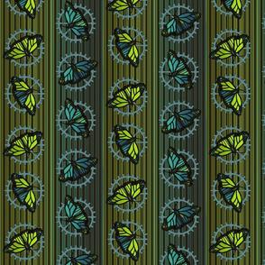 Steampunk Barcode Stripe butterfly motif #3