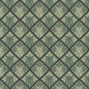 Alternating pale and dark green hop tiles