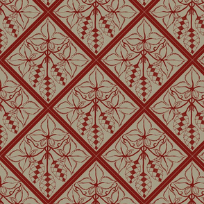 Formal red hops on an old linen BG